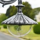Cast Iron Lamp Post Lantern in vintage silver