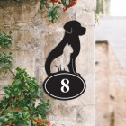 Cat & Dog Iron House Number Sign in Situ on a  House
