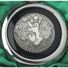 Close-up of the Celtic Lion Design on the Whiskey Flask