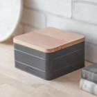 Charcoal Cake Tin with Beech Wood Lid