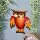 Glass & Metal Orange Owl Wall Art in Situ on a Living Room Wall