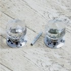 Clear Cut Glass Rim Knobs