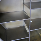 Close-up of the Metal Shelves Inside the Cabinet