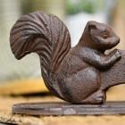 Close Up Of Squirrel Motif On Rustic Boot Scraper