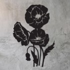 Cluster of Poppies Wall Art on a Rustic Grey Wall