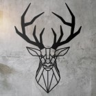 Geometric Stag Wall Art on a Rustic Wall