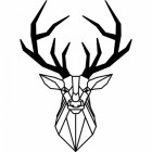 Geometric Stag Wall Art Finished in Black