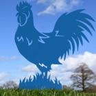 Rooster Garden Silhouette in Blue