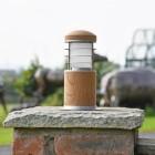 Compact Wooden Bollard Light on a Brick Pillar in the Garden
