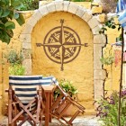 Compass Wall Art in Situ on a Yellow Wall