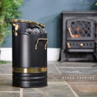 Contemporary Black Coal Hod With Brass Handles in Situ Next to the Fire Place