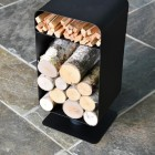 Contemporary Black Log and Kindling Store in Situ in the Home