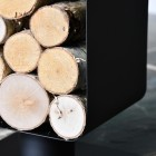Close-up of the Logs in the Contemporary Black Log and Kindling Store