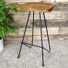 Contemporary Woode & Iron Stool
