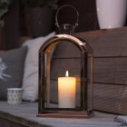 Copper Effect Lantern in Situ Use Outside in Low Light