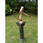 Polished Solid Copper Armillary in Situ on a Plinth