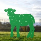 Green Iron Curly Lamb Silhouette in Situ in the Garden