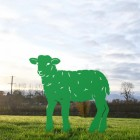 Curly Lamb Silhouette in Green