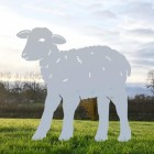 Iron Curly Lamb Silhouette in Silver