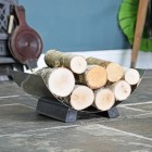 Curved Log Rack in Pewter Finish in Use