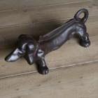 """""""Dachshund"""" Dog Boot Scraper in a Rustic Brown Finish"""