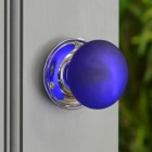 Bright Chrome Blue Frosted Glass Door Knob in Situ on  a Grey Door