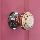 Beautiful patterned door knob - red & white ceramic door knob on pink door