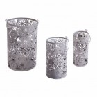 Set of three Grey Decorative Cylinder with flower detail