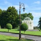Deluxe Antique Copper Ornate Cast Iron Swan Neck Lamp Post In Garden Setting