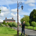 Deluxe Antique Copper Ornate Cast Iron Swan Neck Lamp Post Scale Shot