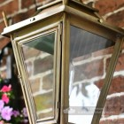 Detailed image of antique brass Dorchester lantern