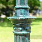 Detailing on Ornate Green Lamp Post Column