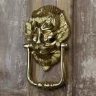 """""""Downing street lion"""" Door Knocker on a Rustic Door"""