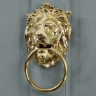 Polished Brass Ascot Lion door knocker on grey door