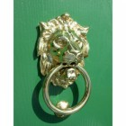 Polished brass lion head door knocker