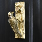 Polsihed Brass Woodpecker door knocker on Black door