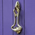 Polished Brass Art Deco Door Knocker on Purple door