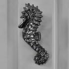 Black Seahorse Door knocker on grey door