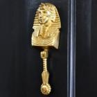 Polished brass Egyptian door knocker on black door