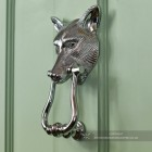 Bright Chrome Large Fox Head Door Knocker