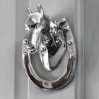 Bright Chrome Horse head door knocker on Grey door