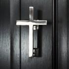 Bright Chrome Cross Door Knocker on Black door