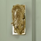Polished Brass Mouse door knocker on green door