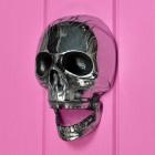 Chrome skull door knocker on pink door