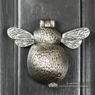 Antique Pewter Bumblebee Door Knocker on a Dark Grey Door