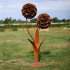 Large Rustic Dual Garden Flower Sculpture