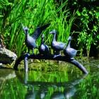 Ducks on Branch Sculpture in an Antique Bronze Finish