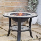 """Durango"" Firepit & Ceramic & Steel Garden Table in Use in the Garden"