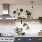 Beeswax Curved Shelf Bracket in Kitchen