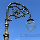 Extra Tall Gold Lamp Post With Ornate Swan neck arm